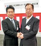 県立体育センター起工式に細谷政幸委員長と出席