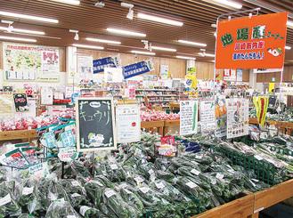 地場の新鮮野菜が並ぶ店内