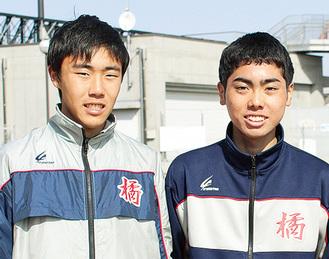 今大会を振り返り、思いを語る福士君(右)、山田君