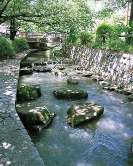 遊歩道がある二ヶ領用水宿河原堀