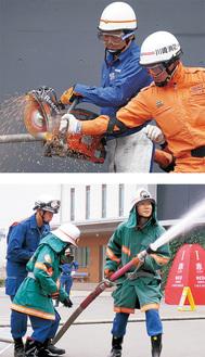 エンジンカッターの取り扱い(上)や放水訓練などを実施