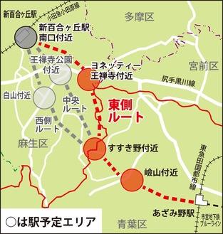 概略ルート・駅位置イメージ