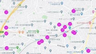 テイクアウト対応店が示されたGoogleマップ