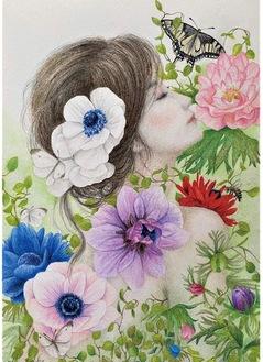 「花と蝶のアレンジメント」SM号 色鉛筆画