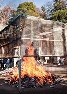 馬絹神社でどんど焼き