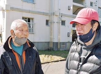 避難先の宮崎台で思いを話す溝渕さん(左)と長坂さん