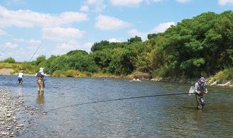宇奈根付近でアユ釣りを楽しむ釣り人ら