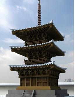 影向寺三重塔のCG=佐藤さん作成