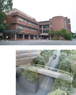 10月から休館する市民プラザ(写真上)、蒸気橋の完成予想パース(川崎市提供)