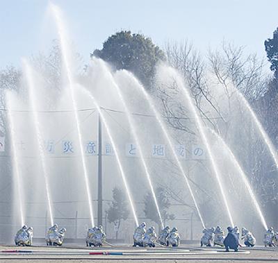 一斉放水で防災意識高める
