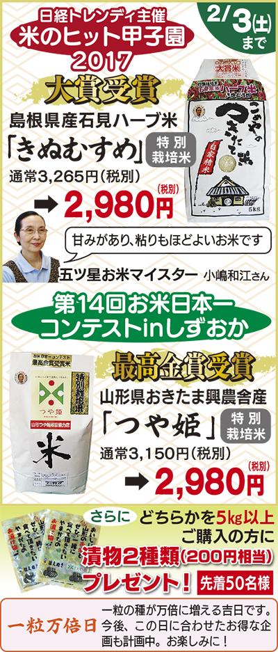 米のヒット甲子園大賞「ハーブ米きぬむすめ」
