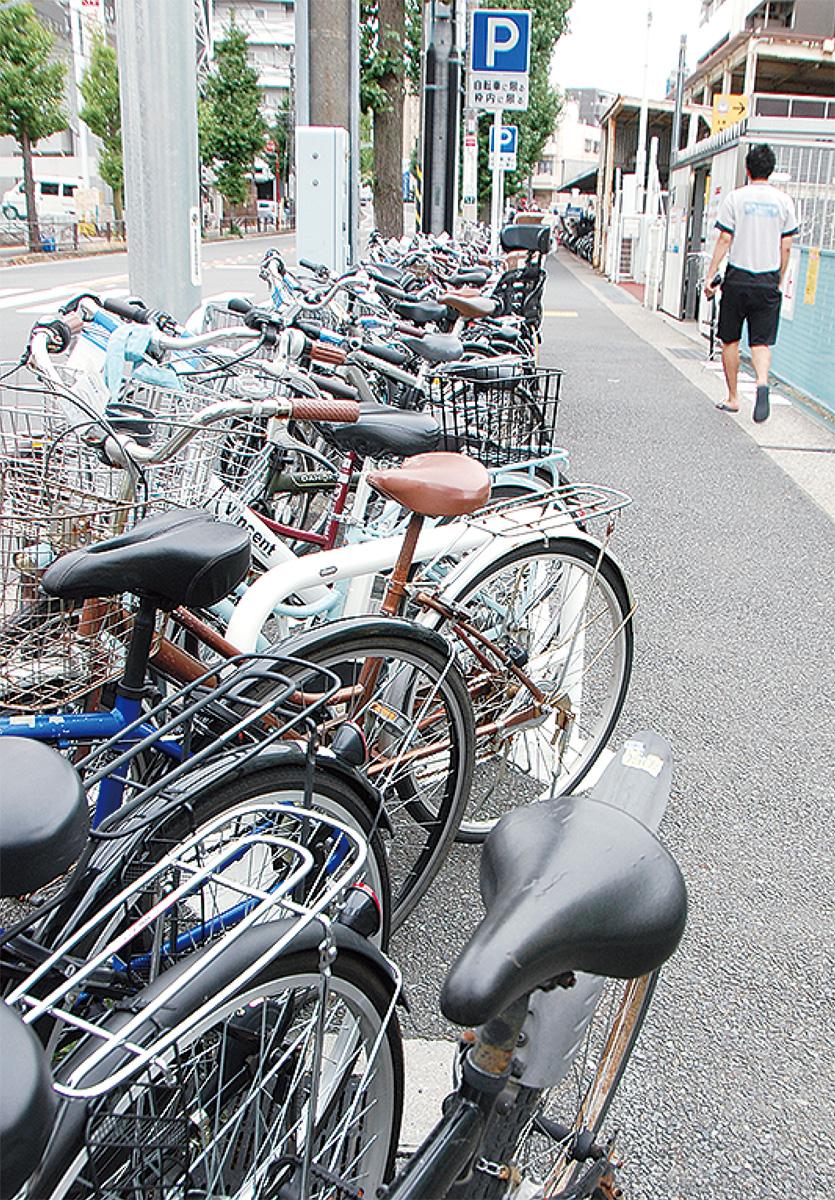 歩道に自転車あふれる