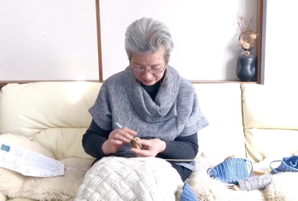 マスク 手編み