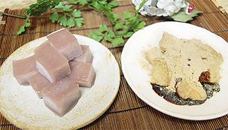 あかね豆福(左)とわらび餅(右)共に1箱550円