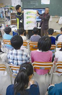 多摩川の歴史などを解説する齋藤さん(中央右)
