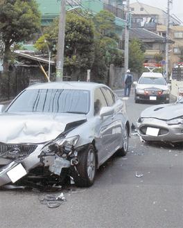 区内で発生した交通事故の様子