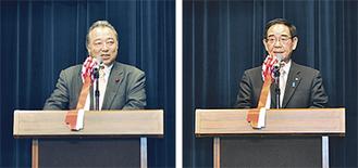 抱負を述べる阿部市長(右)と大島議長