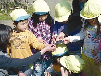 贈られた竹炭を観察する園児たち