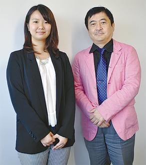 製作した宿久さん(左)と松尾教授