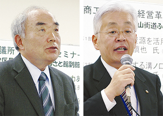 地元経営者らに講演する土方区長(右)と對馬副館長