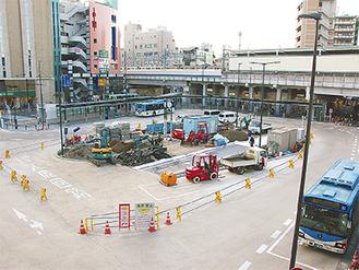 工事が進む南口広場
