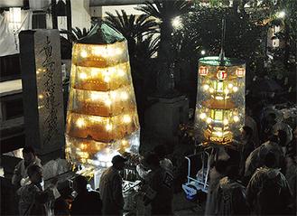 宗隆寺に到着した万灯