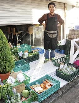 高津区産の野菜を種類も豊富にそろえる