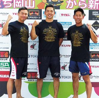 溺者救助に出場した矢澤さん(左)と福永さん(中)、丸山さん