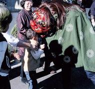 獅子舞で正月風情再現