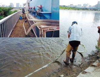 約3,000匹のアユ成魚が、ポンプ車のホースを伝い放流された(8月19日/県内水面漁業振興会提供)