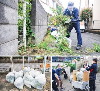道路沿いの草を取り除く会員ら(上)、ゴミをリヤカーで回収(下)