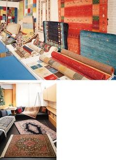 すべて手織りの1点もので美しいじゅうたんを多数展示