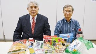 冨田さん(左)と竹内さん、食料はイメージ