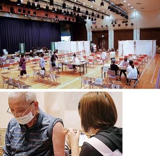 高津市民館での集団接種初日(写真上)、接種の様子(市提供)