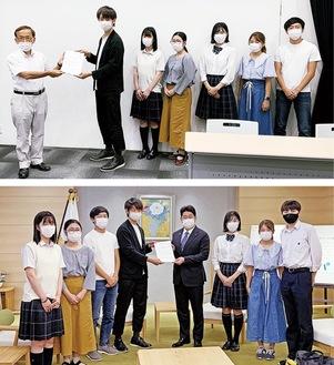市古氏(写真上)と福田氏(写真下)に政策提言を手渡すメンバー(同会議提供)