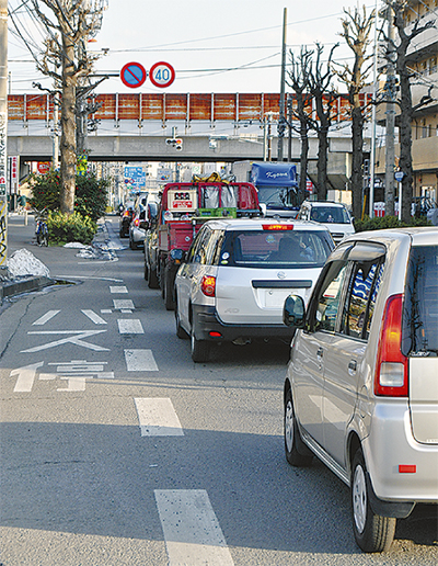 溝口交差点に渋滞対策
