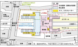 川崎市が発表した稲田堤駅の整備計画図(市の発表資料より)