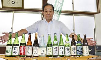 13種の県産酒をPRする織川さん