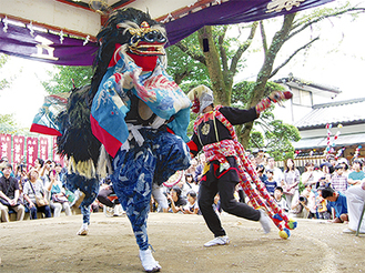 多くの観客が詰めかけた菅の獅子舞