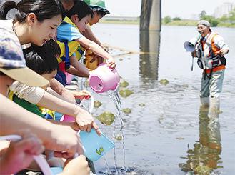 アユの稚魚を放流する参加者