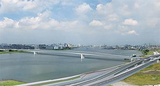 連絡道路橋りょうの完成イメージ(羽田空港側から多摩川上流)