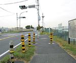 サイクリングロードが途切れる布田橋付近