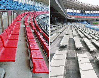 2階の背もたれ付座席(左)を、1階の座席(右)と交換
