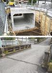 工事中の様子(上、12月1日撮影)と着工前の子之神橋
