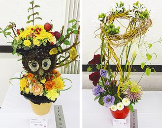▲柴田さんの作品(左)と三平さんの作品=主催者提供