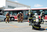 バス事故想定し訓練