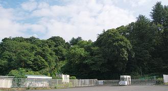木々が生い茂る跡地の一部「ばら苑」入り口
