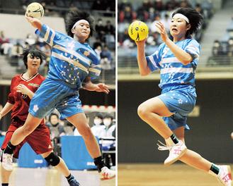 決勝で得点を重ねる大谷さん(左)、小宮山さん
