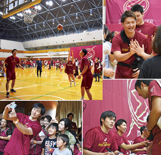 笑顔で応える辻選手(右上)、藤井選手(右下)、長谷川選手(左下)