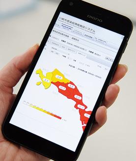 市の感染症情報発信システムは、スマートフォンでも閲覧可